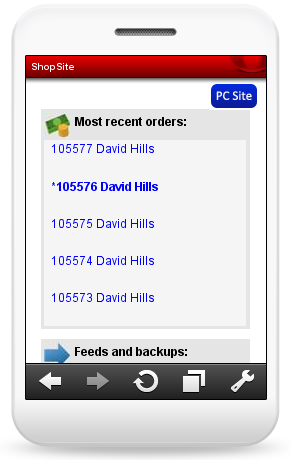 Mobile View of Dashboard Orders