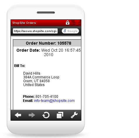 Mobile View of Billing