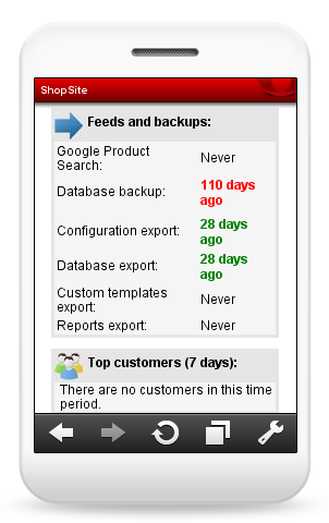 Mobile View of Dashboard Feeds and Backups