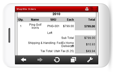 Mobile View of Ordered Product